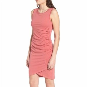 NWT Leith ruched tank dress pink red
